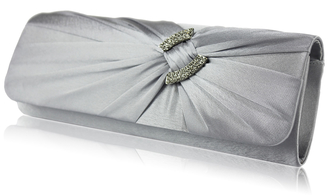 LSE00175-Wholesale & B2B Silver Satin Clutch Bag With Crystal Decoration Supplier & Manufacturer