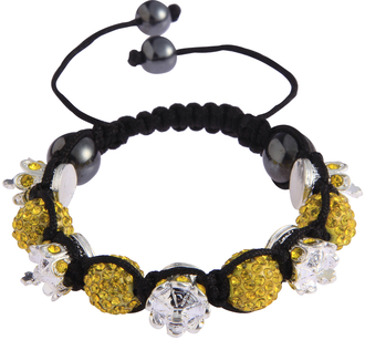 LSB0031-Crown Yellow Crystal Disco Ball Bead Bracelet