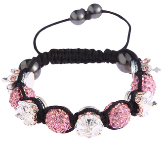 LSB0031-Crown Pink Crystal Disco Ball Bead Bracelet