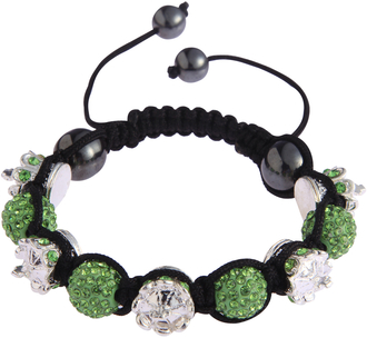 LSB0031-Crown Green Crystal Disco Ball Bead Bracelet