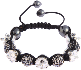 LSB0031-Crown Black Crystal Disco Ball Bead Bracelet