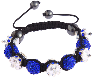 LSB0031-Crown Royal Blue Crystal Disco Ball Bead Bracelet