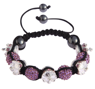LSB0031-Crown Purple  Crystal Disco Ball Bead Bracelet