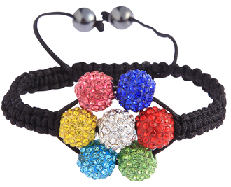 LSB0032-Multi Colour Shamballa Bracelet Crystal-Disco Ball Friendship Bead