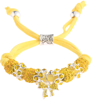 LSB0034- Lemonade Yellow Crystal Bracelet With Butterfly Charm