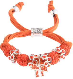 LSB0034- Orange Crystal Bracelet With Butterfly Charm