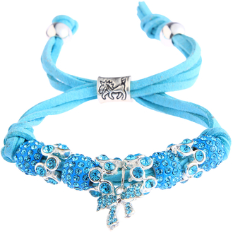 LSB0034- Teal Crystal Bracelet With Butterfly Charm