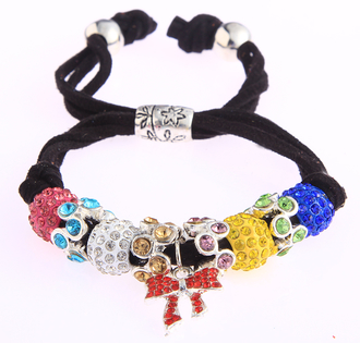 LSB0034- Multi Colour Crystal Bracelet With Butterfly Charm