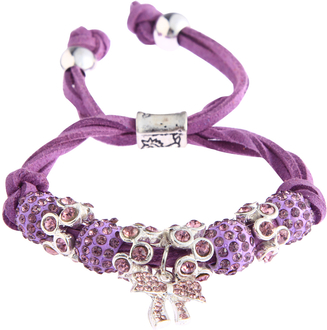 LSB0034- Purple Crystal Bracelet With Butterfly Charm