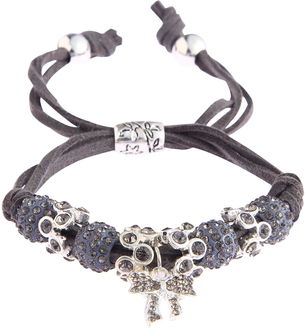 LSB0034- Grey Crystal Bracelet With Butterfly Charm