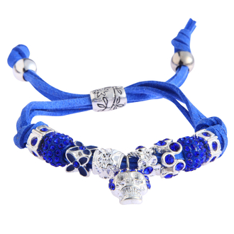 LSB0035- Royal Blue Crystal Bracelet With Skull Charm