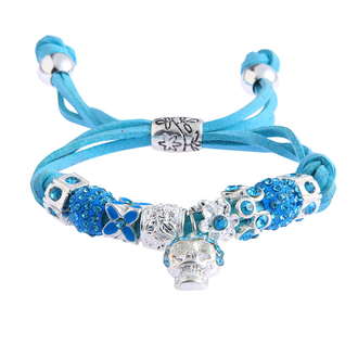 LSB0035- Teal Crystal Bracelet With Skull Charm