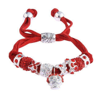 LSB0035- Red Crystal Bracelet With Skull Charm