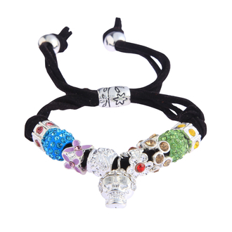LSB0035- Multi Colour Crystal Bracelet With Skull Charm