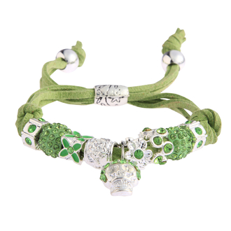 LSB0035- Green Crystal Bracelet With Skull Charm