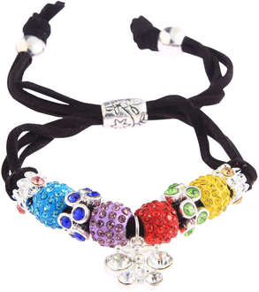LSB0036- Multi Colour Crystal Bracelet With Dragonfly Charm