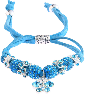 LSB0036- Teal Crystal Bracelet With Dragonfly Charm