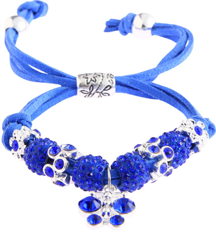 LSB0036- Blue Crystal Bracelet With Dragonfly Charm