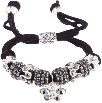 LSB0036- Black Crystal Bracelet With Dragonfly Charm