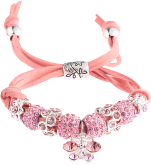 LSB0036- Pink Crystal Bracelet With Dragonfly Charm