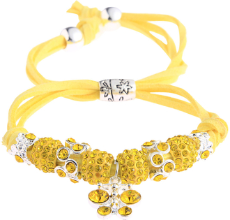 LSB0036- Lemonade Yellow Crystal Bracelet With Dragonfly Charm