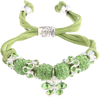 LSB0036- Green Crystal Bracelet With Dragonfly Charm