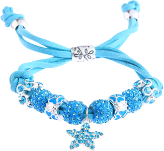 LSB0037- Teal Crystal Bracelet With Star Charm