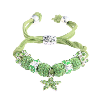 LSB0037- Green Crystal Bracelet With Star Charm