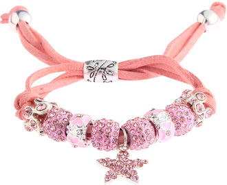 LSB0037-Pink Crystal Bracelet With Star Charm