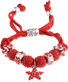 LSB0037-Red Crystal Bracelet With Star Charm