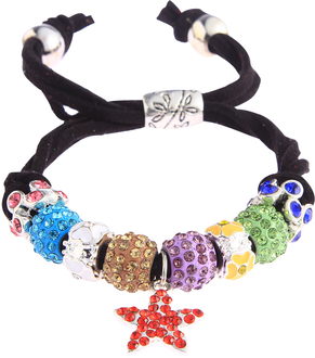 LSB0037-Multi Colour Crystal Bracelet With Star Charm