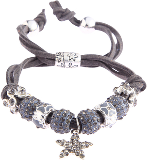 LSB0037-Grey Crystal Bracelet With Star Charm