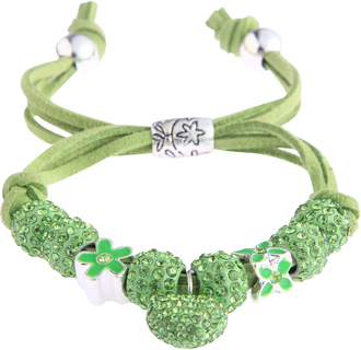 LSB0038-Green Crystal Bracelet With Heart Charm