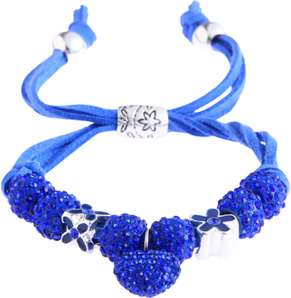 LSB0038-Blue Crystal Bracelet With Heart Charm