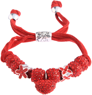 LSB0038-Red Crystal Bracelet With Heart Charm