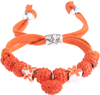 LSB0038-Orange Crystal Bracelet With Heart Charm