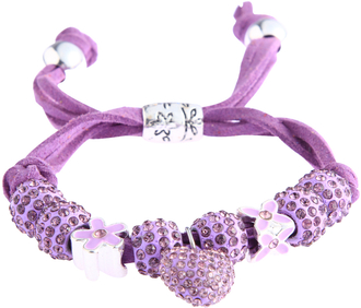 LSB0038-Purple Crystal Bracelet With Heart Charm