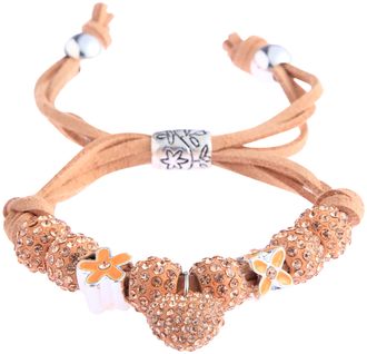 LSB0038-Champagne Crystal Bracelet With Heart Charm