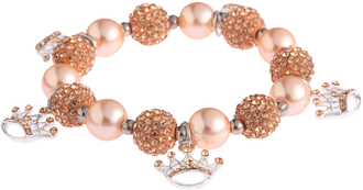 LSB0039-Champagne Crystal Bracelet With Crown Charms