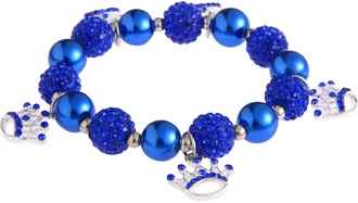 LSB0039-Blue Crystal Bracelet With Crown Charms