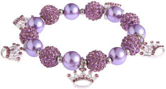 LSB0039-Purple Crystal Bracelet With Crown Charms