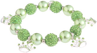 LSB0039-Green Crystal Bracelet With Crown Charms