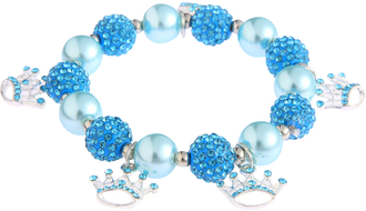 LSB0039-Wholesale & B2B Teal Crystal Bracelet With Crown Charms Supplier & Manufacturer