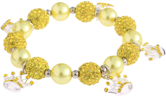 LSB0039-Lemonade Yellow  Crystal Bracelet With Crown Charms