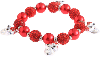 LSB0040-Red Crystal Bracelet With Skull Charms