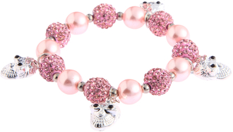 LSB0040-Pink Crystal Bracelet With Skull Charms