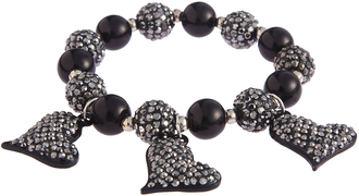 LSB0041- Wholesale & B2B Black Crystal Bracelet With Heart Charms Supplier & Manufacturer