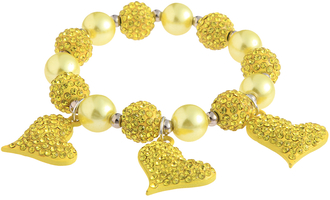 LSB0041- Lemonade Yellow Crystal Bracelet With Heart Charms