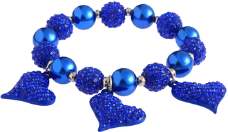 LSB0041- Blue Crystal Bracelet With Heart Charms