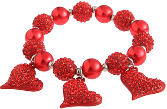 LSB0041- Red Crystal Bracelet With Heart Charms